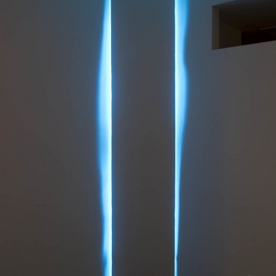 "Jae Won Kim: ""Virtuality #4"". 2013. Wood structure, fluorescent light. Dimensions variable"
