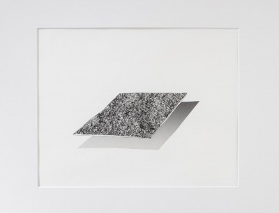 A drawing by Jae Won Kim. The drawing is in black and white and features two rectangles. It appears as if the rectangular shape on top is floating and the shape below is it's shadow. The surface appears as if it is a rough, textured surface.