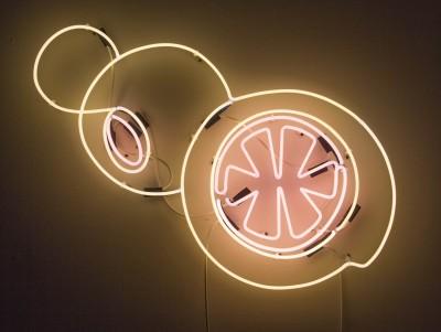 "Jamie Rubin: Juice on the Loose "". 2013. Neon. 29 x 42.5"""