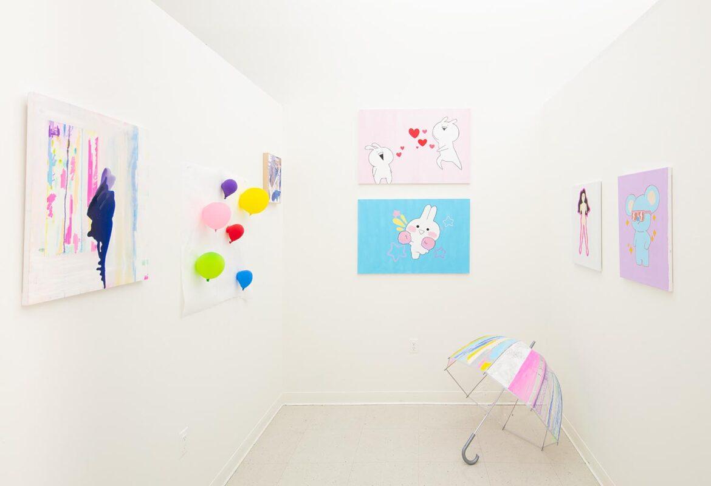 Jenny Kim: <i>Works From Open Studios Fall 2019</i>, 2019. acrylic paint, POSCA markers, umbrella.