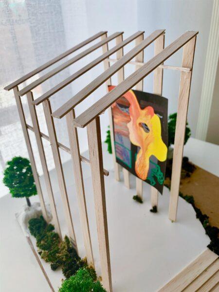 Jessica Simonis, Greenhouse, 2020. Balsa wood, cardboard, clay, and canvas. 10 x 13 inches.