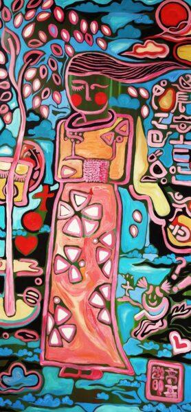 Jialu Gao, Enamel Garden, 2020. Oil on canvas, 45 x 95 inches.