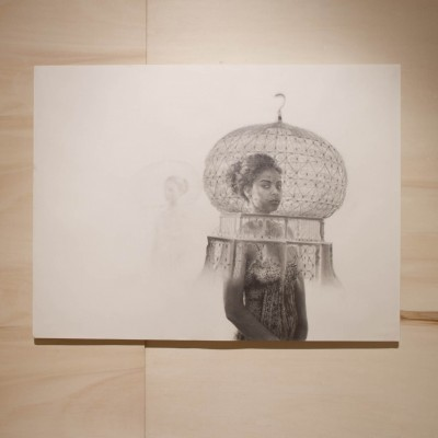 "Jocelyn Gilead: ""The Shift . 2012. Graphite on paper, poplar floor and panelling. 18 x 24"""