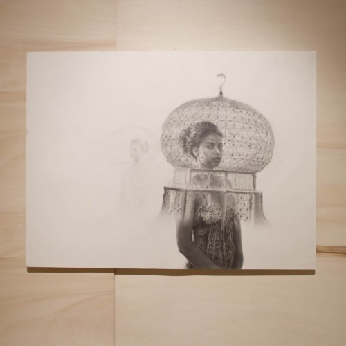 """Jocelyn Gilead: """"The Shift . 2012. Graphite on paper, poplar floor and panelling. 18 x 24"""""""