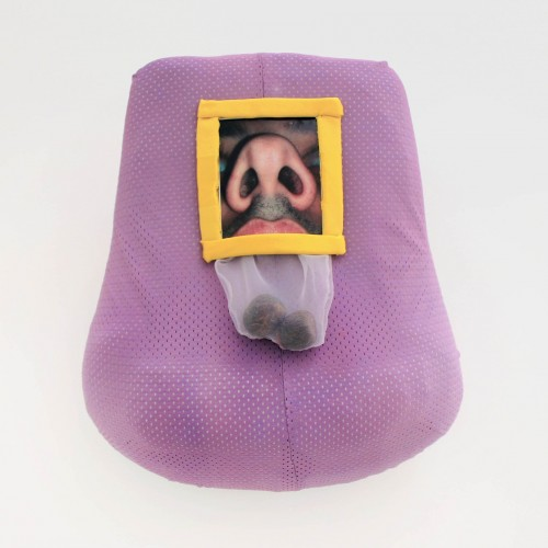 "Jordany Genao: ""Untitled"". 2013. Foam, athletic fabric dyed lavender, yellow athletic fabric, printed nose image, clear fabric, avocado seeds. 14x13"""