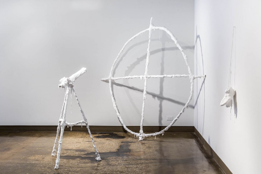 Kennedy Keegan: Installation view. 2013. Telescope, electrical pipe, plaster, burlap, hydrocal. Dimensions variable
