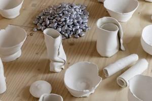 "Kennedy Keegan: ""Untitled"". 2014. Ceramics, rocks, acrylic, wood. Dimensions variable"