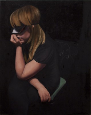 A painting by Lindsay Abken. The painting depicts the profile view of a seated woman in a dark room. The figure has her left arm resting with her hand pressed up against her mouth. The eyes are covered by some kind of blindfold. The background is a solid black.