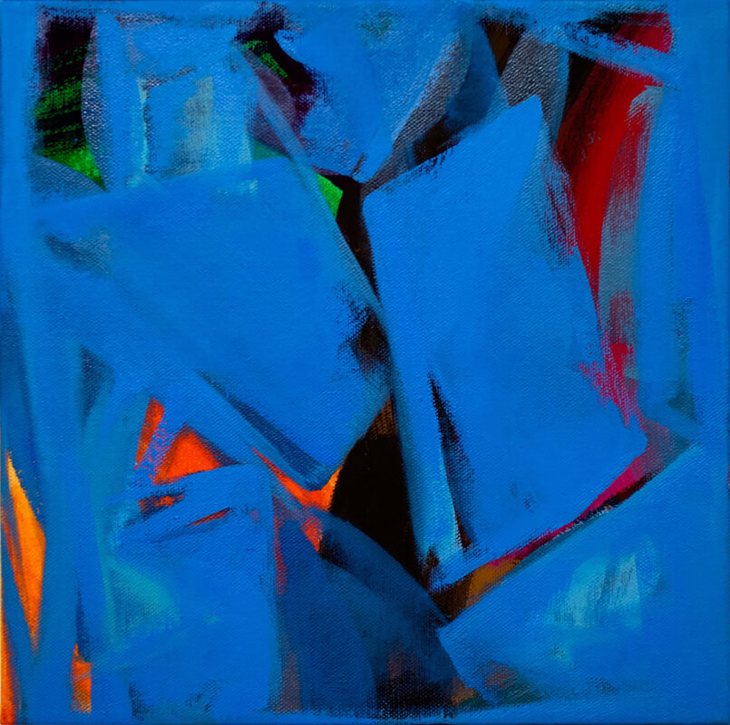A painting of orange, green, brown, and red abstract shapes exist between or behind blue surfaces.