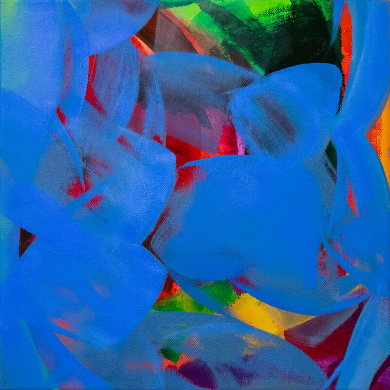 Painting. Abstract movements with all the different colors; green, orange, yellow, purple, and red that exist between or behind gestural blue surfaces.