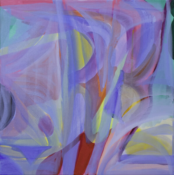 A layer of abstract shapes colored with blue, red, pink, purple, black, green, and yellow is shown through gestural transparent blue layers.