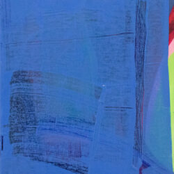 A blue surface is covering the layer of abstract shapes colored with blue, red, pink, and yellow-green. Colors still can be seen through the edge and transparent part of the blue surface.