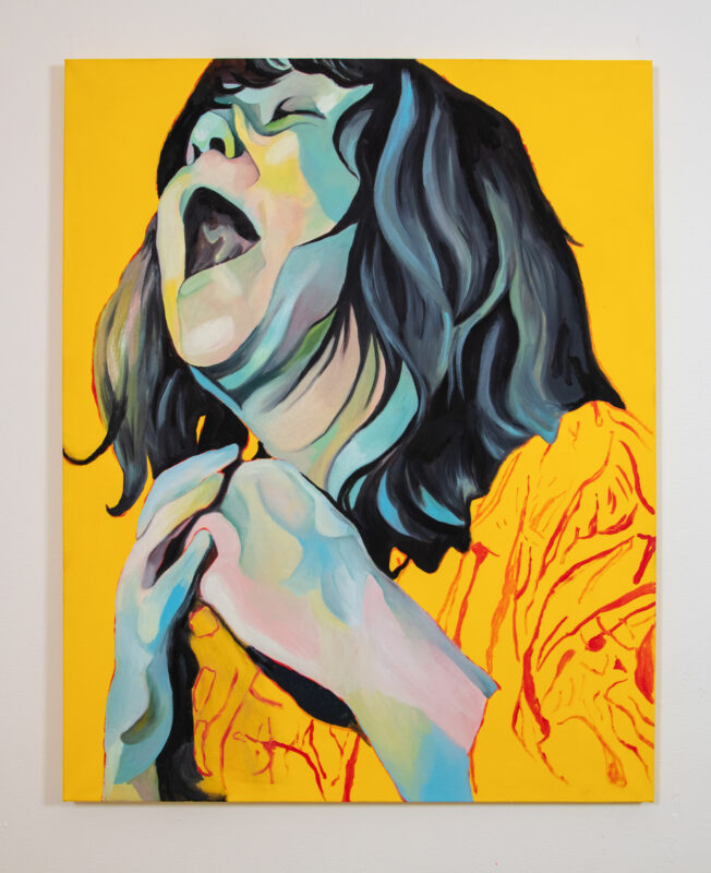 A young woman is painted screaming. Her head is tilted up and toward the viewer's left. Her eyes are closed and her mouth is open wide. Her hair is long with bangs. Her hands are clasped at her chest. The background is a flat yellow.