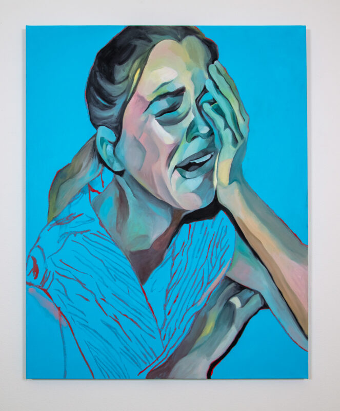 A young woman is painted screaming and weeping. Her head is tilted toward the viewer's lower right side. Her left hand is pushing against the left side of her face. Her eyes are closed and her eyebrows are knitted together. Her mouth is open. Her hair is in a low ponytail. The background is a flat medium blue.