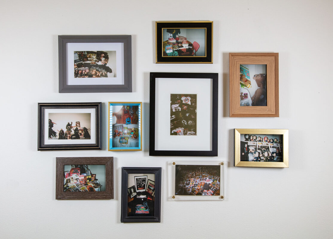10 framed images of different collections. There are images of collections of Star Wars, Kylo Ren, Twilight, Andy Warhol, My Chemical Romance shirts and action figures, Doom Patrol comics, ET, Sesame Street, and Phantom of the Paradise. All images are four by 6 inches photographed on a disposable 35 millimeter film camera.