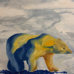 Wanru Jovie Li, Polar Bear, 2020. Oil on canvas. 28 x 36 inches.