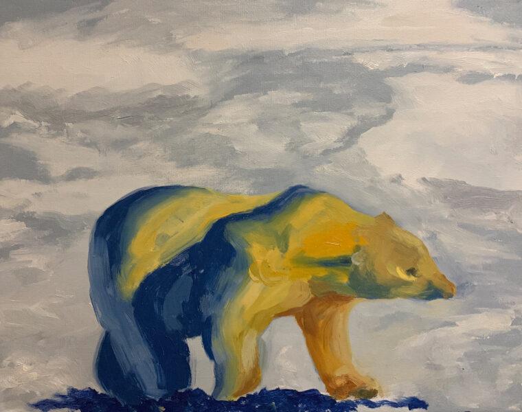 Wanru Jovie Li, Polar Bear, 2020. Oil on canvas. 28 x 36 inches.