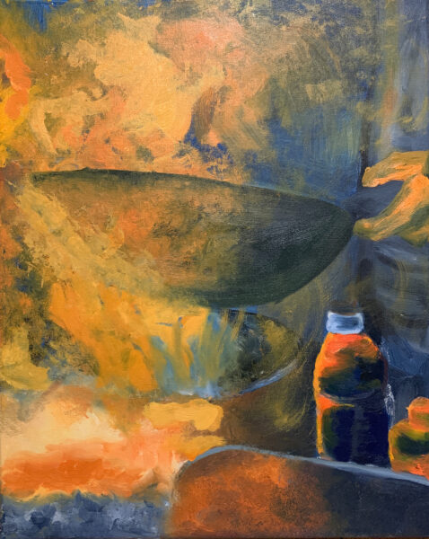 Wanru Jovie Li, Street Fire, 2020. Oil on canvas. 28 x 36 inches.