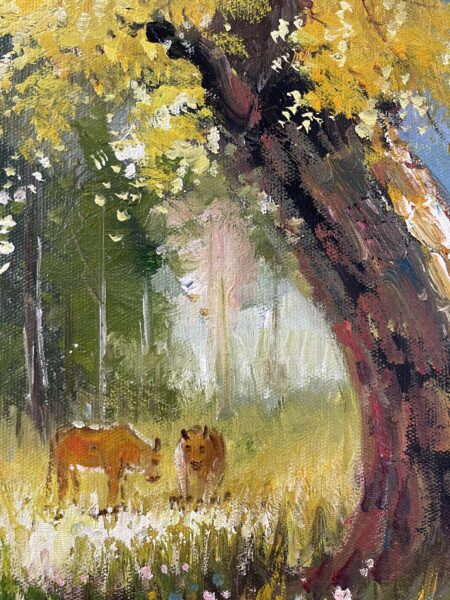 A landscape oil painting of the forest and deers in fall.