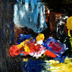 An abstract painting of flowers using vivid colors