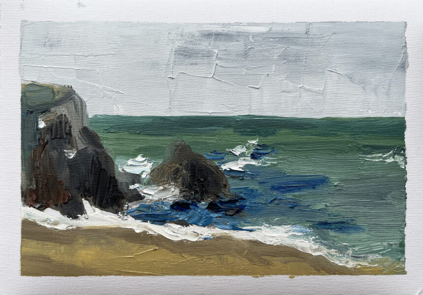 An oil painting of the beach. From the artist: As a travel lover, I haven't traveled around for over a year now and I really miss the good old days before Covid.