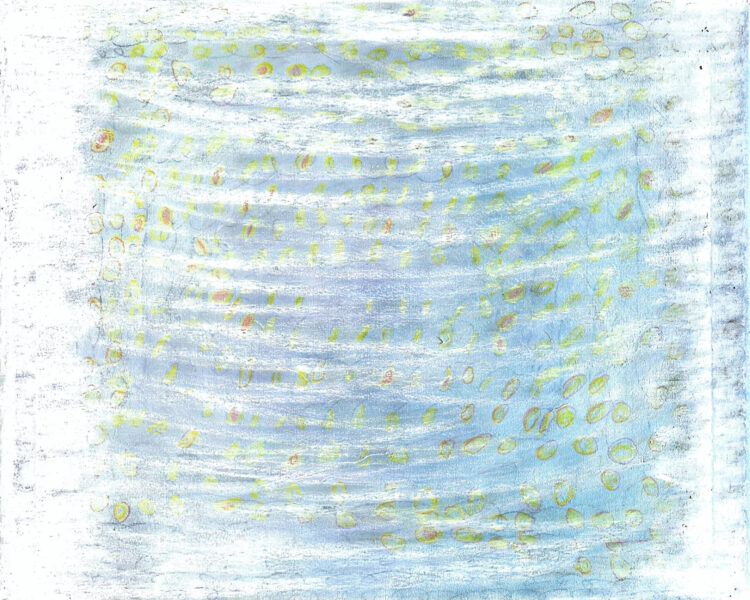 Baby blue background painting with smashed white brushstrokes and yellow and orange circles.