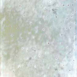 """""""Light green and white painting with pink dots spreading over the whole painting."""""""