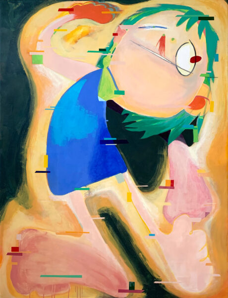 Painting by Yizhi Liu. Depicts a fictional figure with green hair and blue dress.