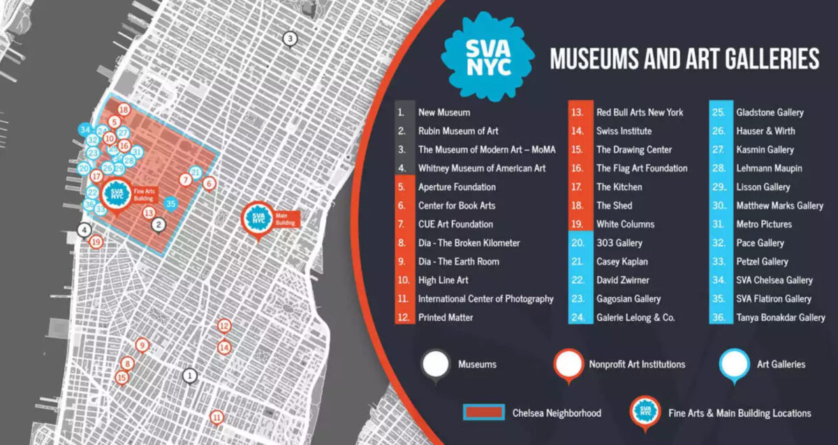 Map of Contemporary Art Museums, Art Galleries and Non-profit cultural institutions located near the BFA Fine Arts Building in Chelsea, New York. The map displays 36 locations organized by color and category.