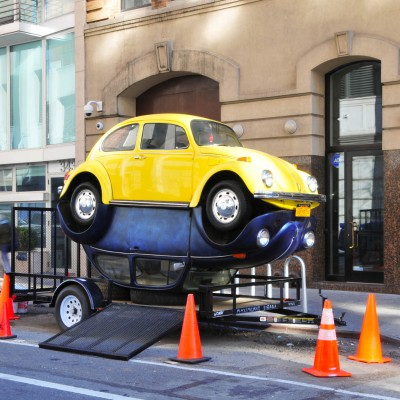"Maximiliano Sinani: ""Beetles"". 2014. Two 1972 & 1974 Volkswagen Beetles together. 160 x 120 x 58"""