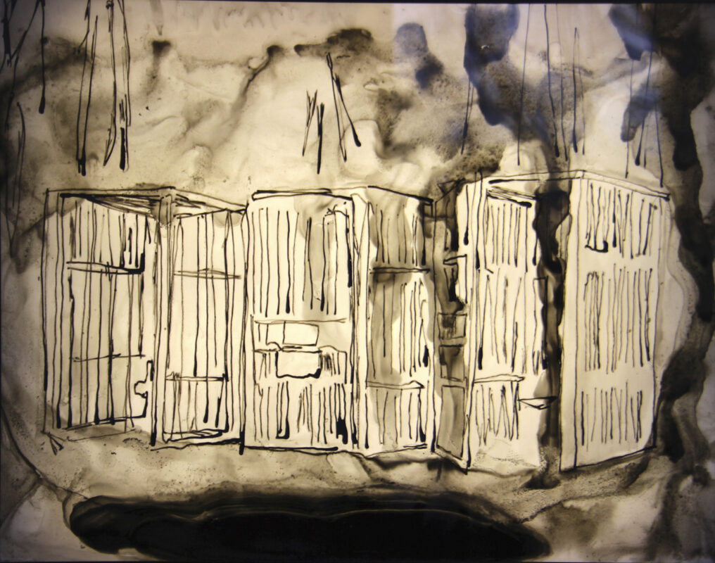 James Meyer, Therapy Cells, 2020. Ink on mylar, lightbox. 24 x 30 x 3 inches.