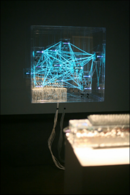 An installation by BFA Fine Arts student Muhammad Hafiz Wan Rosli incorporating 3D prints, custom electronics, plexiglass and EL wire.