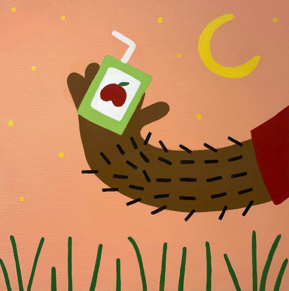 A brown skin toned hairy hand with red sleeve holding a light green juice box out in the field. In the background is an orange sunset with yellow stars and a moon.