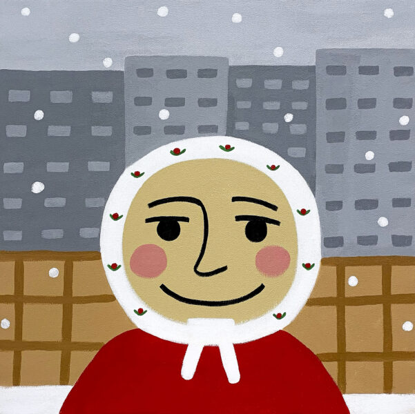 Portrait of a Grandmother wearing a white scarf with red flowers and a red top. Behind surrounding the Grandmother is a brown fence, snowflakes, and soviet buildings.
