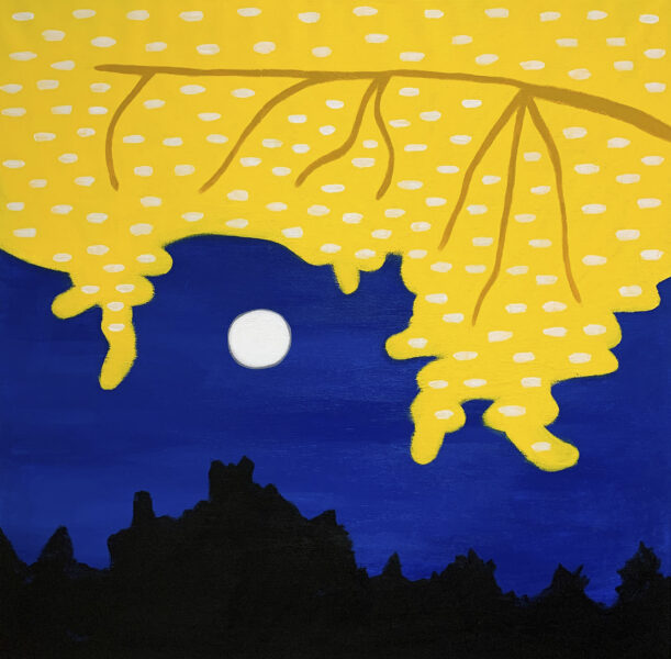 Landscape of a yellow tree lit behind a full moon with a dark blue sky background and black trees towards the bottom.