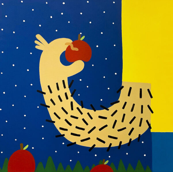 A light skin toned hairy arm wearing a yellow shirt and blue pants outside at night surrounded by white stars. The hand is holding a red apple with caterpillars and standing near more apples.