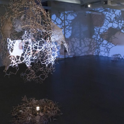 """Narae Sung: """"Between us """". 2013. Wood/ fabric and two channel video. Dimensions variable"""