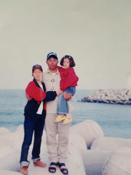 Nari Baek, Standing on Tetrapod (the day I got the accident), 2003. Childhood photograph.