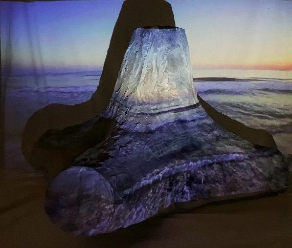 Nari Baek: Tetrapod III, 2020. Wire, plaster, rice paper, glass bead gel. 24 x 36 x 36 inches.