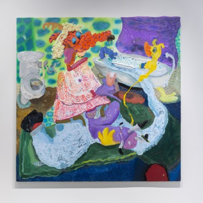 A painting by Nicasio Fernandez. The painting uses vibrant colors to depict a fictional figure in a bathroom setting. The figure has cartoon-like body shapes, with the arms and legs in different proportions.