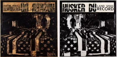Artwork by Nils Karsten. The photo shows a woodcut and the paper print side-by-side. The work is titled, Land Speed Record, Hüsker Dü. Dimensions 6 x 6'