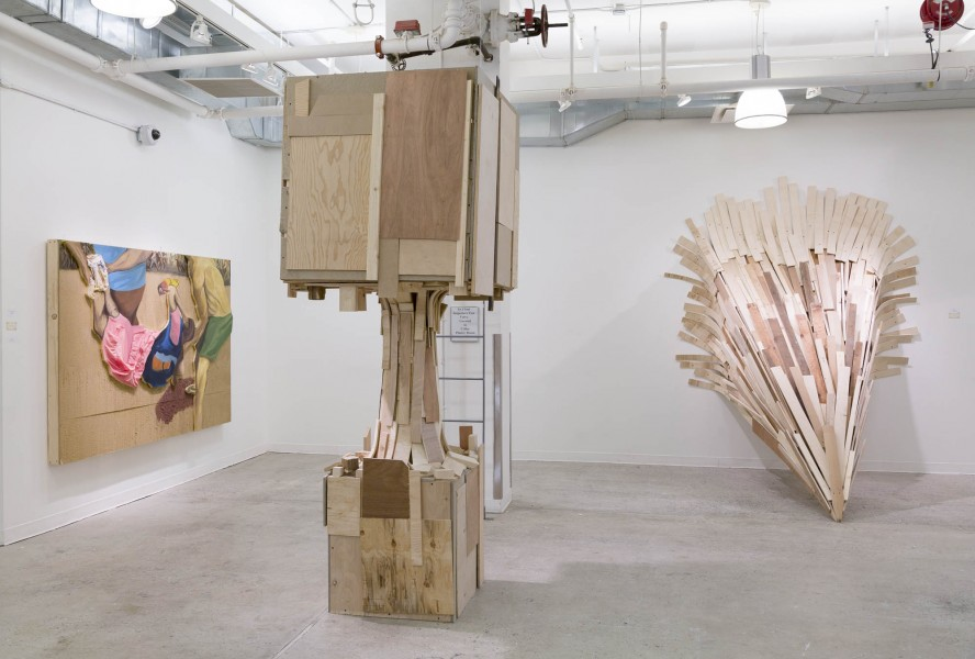 Noe Sosa: Installation view. 2014. Scrap wood. Wood cut outs painted in oil on sanded surface on wood panel. Dimensions variable
