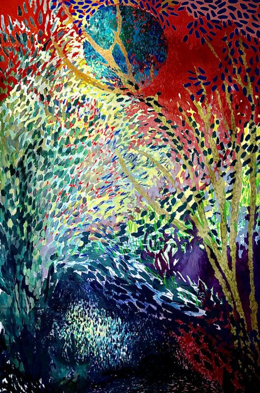 Natália Oliani, Untitled, 2020. Acrylic and oil stick on canvas. 98 x 59 inches.