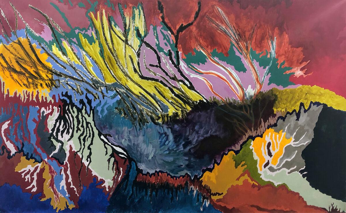 Natália Oliani, Untitled, 2020. Acrylic and oil stick on canvas. 65 x 118 inches.