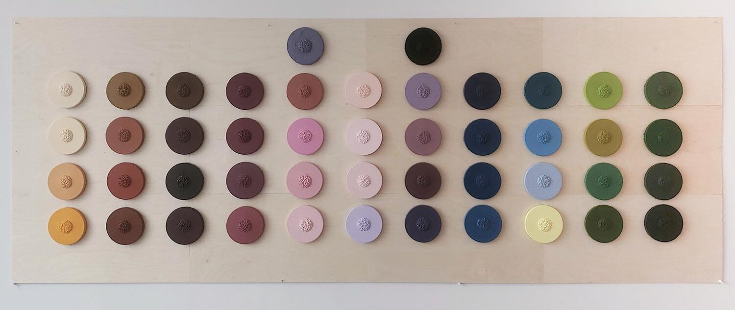 Olivia Kim: 46 Shades of Love, 2020. Oil on Canvas on Wood Board. (36 x 91 inches).