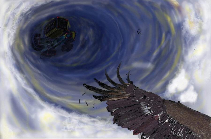Perspective view from a bird. Tops of buildings can be seen in the center of a cloud vortex. From the Artist:. This painting shows the changing clouds and wind in the sky from a bird's perspective at a close distance. In the distance, there are small buildings in the center of the cloud.