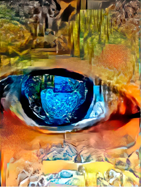 A digital painting of an eye composed of different landscapes that are digitally manipulated.
