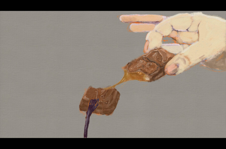 A painting of 2 individuals breaking a peice of chocolate. From the Artist: From the eyes of hungry and poor people, High calories chocolate is the savior of life. In our eyes, high calories chocolate is the killer of our health. Two hands hold the chocolate in the painting simultaneously, one is a thin hand, and the other is a fat hand.