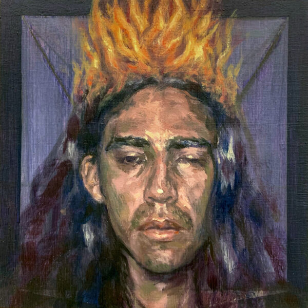 A portrait of a disheveled man whose long hair is on fire. They are unconcerned as if they are unaware of the fire.