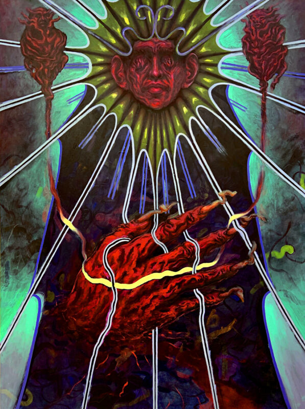 Matthew Perez, Weaving, 2020. Oil on canvas. 48 x 36 inches.